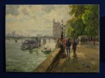 Jeon Pyeong Jin: Embankment (2014). Oil painting at the DPRK Embassy, London