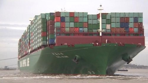 CSCL Globe in the Port of Qingdao