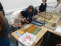 Examining the results - each sheet is separated by a pink fibre