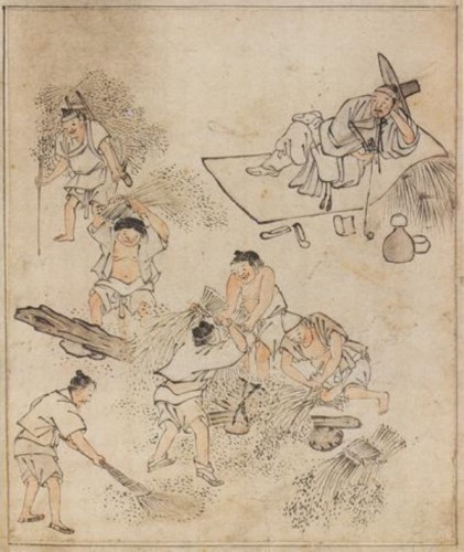 김홍도 (단원) Kim Hong-do (Danwǒn) (1745 – ca.1806): Threshing