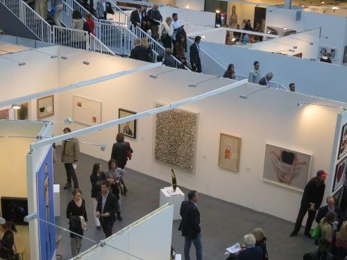 The Omer Tiroche stand with (centre) an early Aggregation work by Chun Kwang-young; (left) a more recent work by Lee Ufan and (right) a work from Lee Ho-ryon's Overlapping Image series
