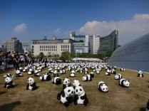 Papier-mache pandas at the DDP, 30 May 2015. (Photo: Sophie Bowman)
