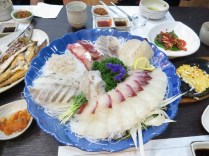Sashimi at a beachfront restaurant in Gangneung
