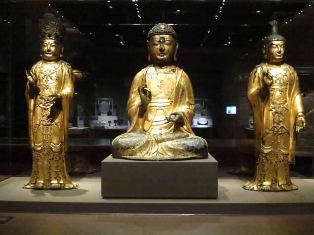 Amitabha Buddha Triad (Goryeo Dynasty, 1333, gilt bronze)