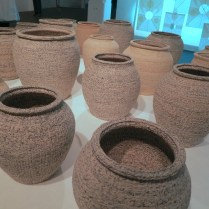 Vases made out of woven paper by Lee Young-soon