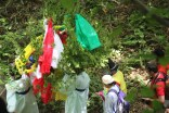 The spirit tree is carried down the mountain