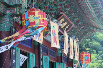 Some of the colourful dancheong temple painting for which Bongwonsa is famous