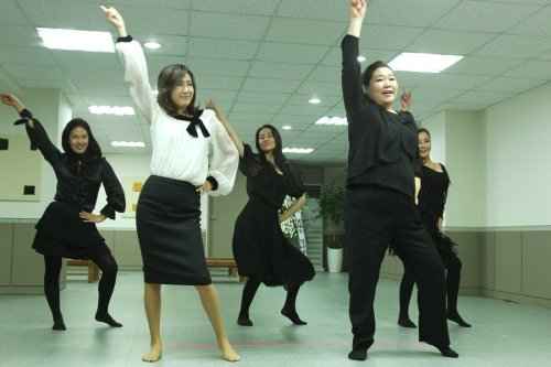 Sunny: The ladies perform their dance routine for the last time at the funeral of their leader