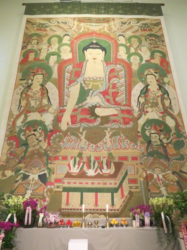The full-size reproduction of the Vulture Peak Assembly painting of Hwaeomsa Temple