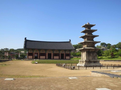 The site of Jeongnimsa Temple, with the pagoda that is National Treasure #9