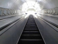 The escalator via which we left
