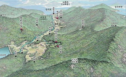 Bogildo, with the various elements of Yun Seond-do's landscape labelled