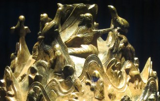 Musicians on the Gilt Bronze Incense Burner - the lute