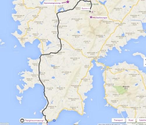 The road from Ttangkkeut Maeul to Daeheungsa