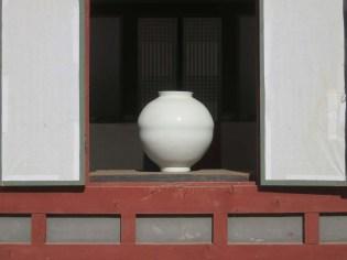 A splendid moon jar on display