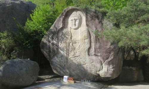 Bongamsa rock buddha carving