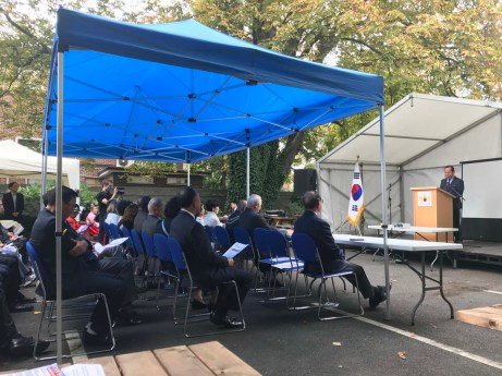 Councillor Ha Jaeseung addresses the audience