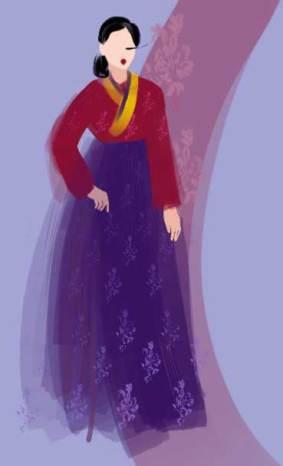 Hanbok design by Emma Caldas, Ffion Martin & Molly Moreton. Illustration by Nataliya Grimberg