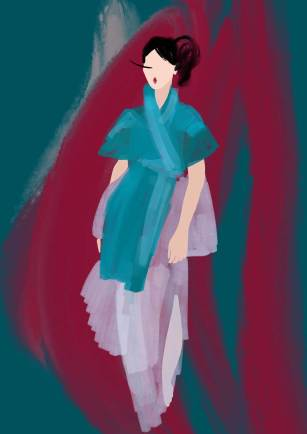 Hanbok design by Mathilde Baud & Justin Rivera. Illustration by Nataliya Grimberg