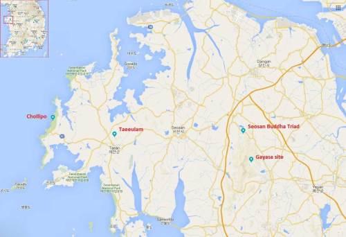 Map of the Taean peninsula