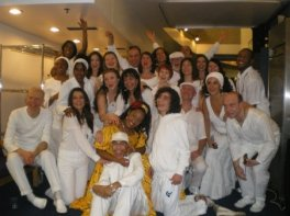 Group photo back stage Barbican