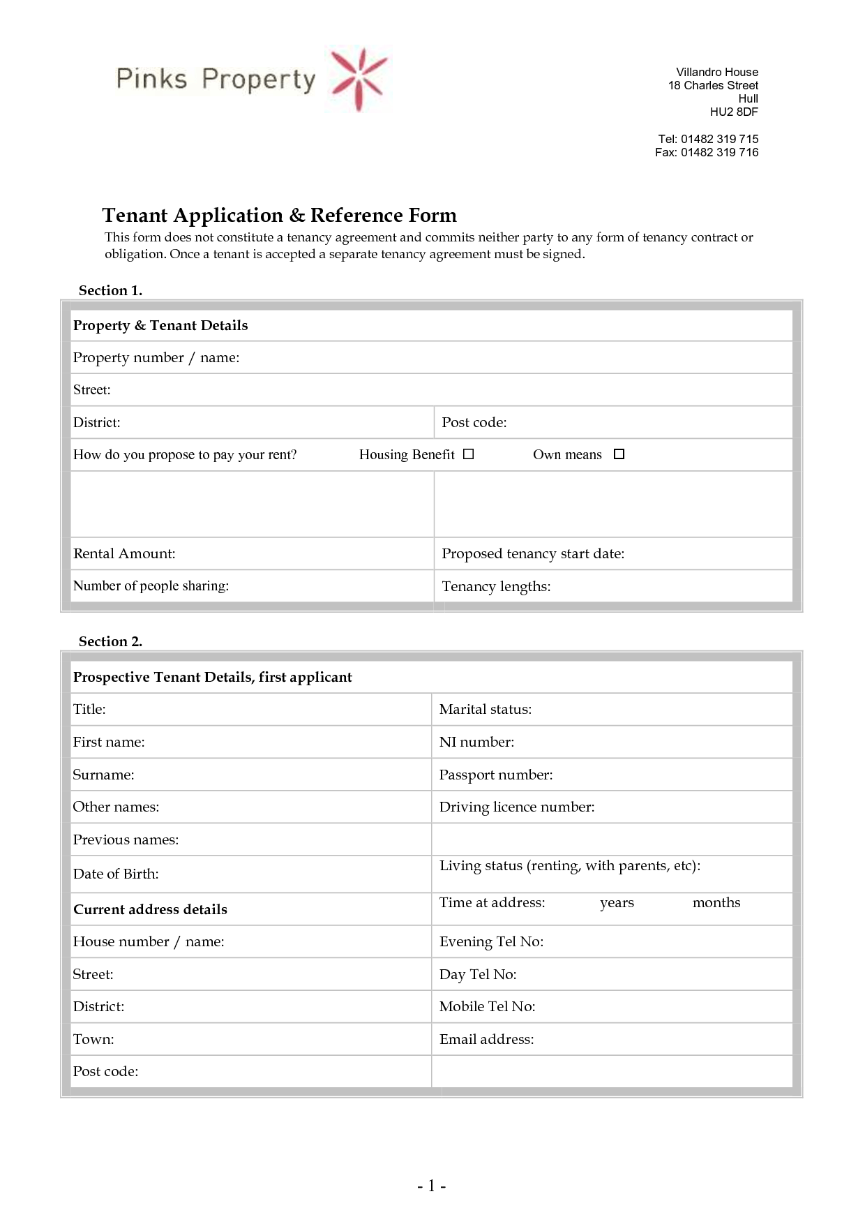 name and address form template