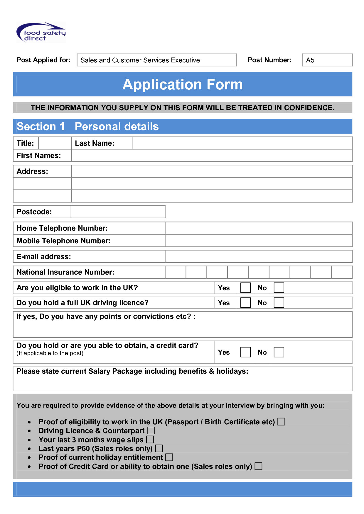 Job Application Form Template Free Printable Documents