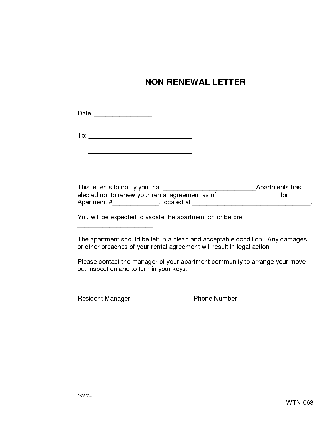 Nonrenewal Of Lease Letter  Free Printable Documents