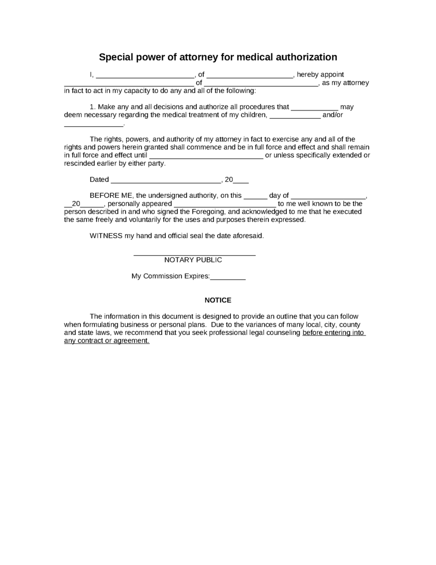 Power Of Attorney Template  Free Printable Documents