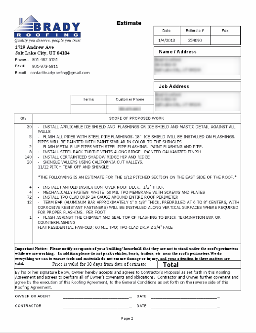 Roofing Contract Free Printable Documents