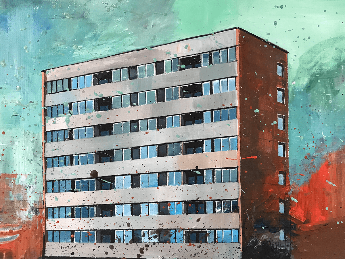 Tomas Nanne-Sandberg South Suburbs, 2020 Acrylic on paper 29x50cm © The Artist