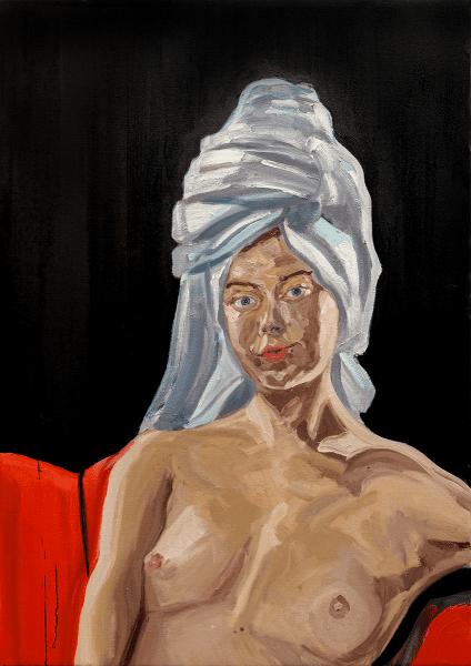 Tom White Oriana, Fresh Out The Shower, 2020 oil on linen 70 cm x 120 cm © The Artist