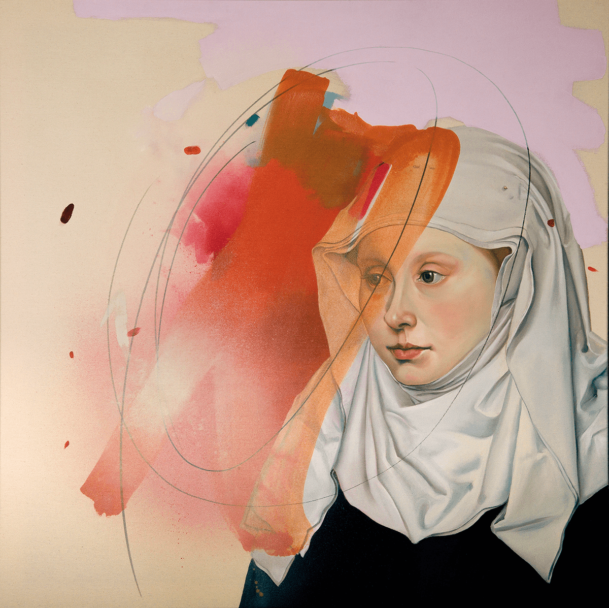 Anja Wülfing Portrait after Robert Campin, 2020 Oil, Acrylic, Marker on Canvas 100 x 100 cm (39,4 x 39,4 in) © The Artist