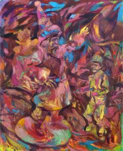 Josip Tirić, Blessing Hand, 2021, Oil on canvas, 110 x 90 cm, 43 x 35.4 in, © The Artist