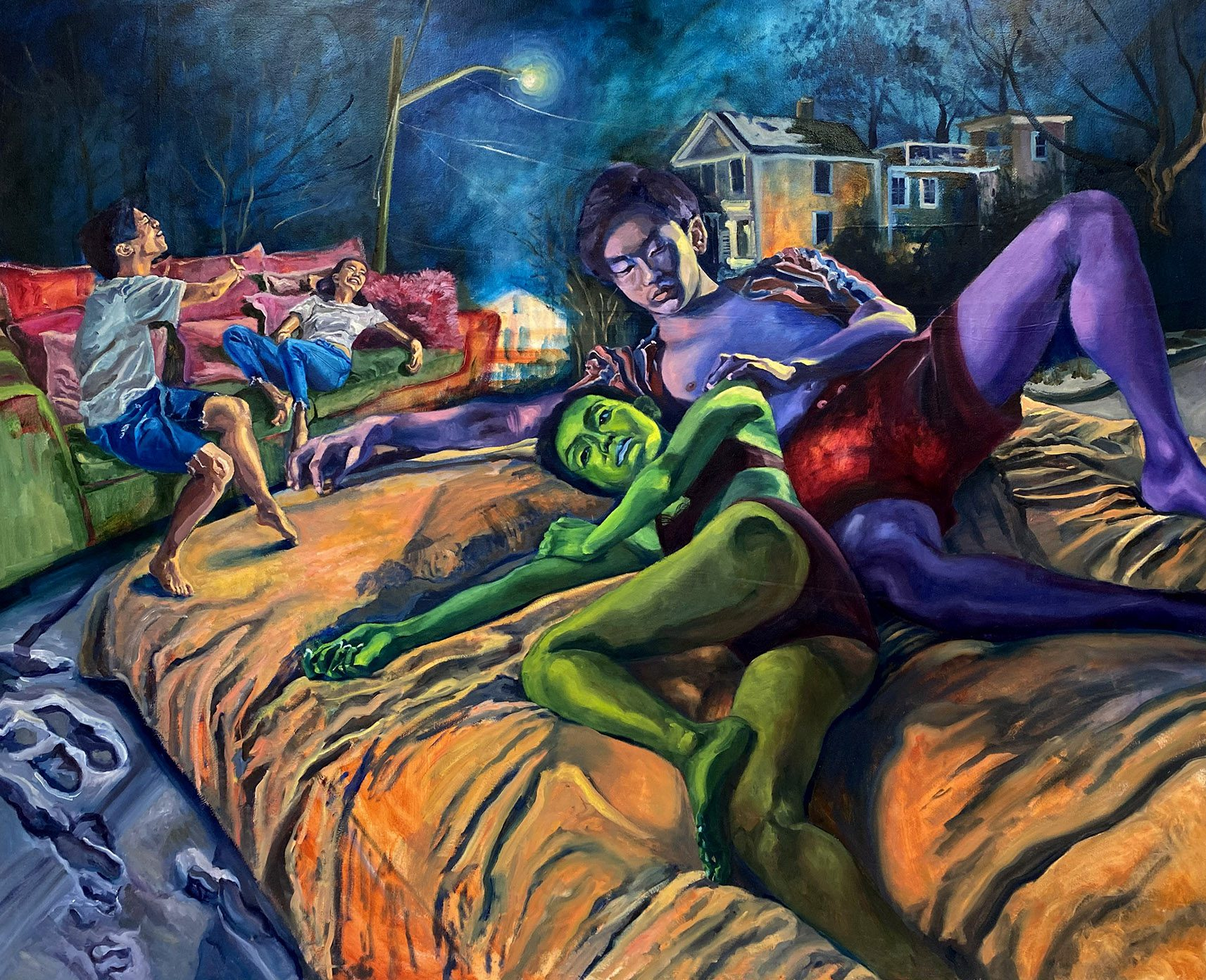 Kitty Ng, Confessions from a 20 year old college female, 2021, Oil on canvas, 180 x 220 cm, 71 x 86.6 in, © The Artist
