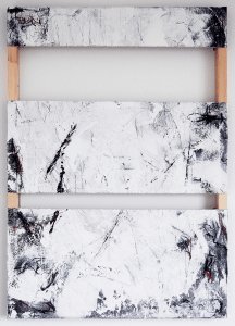 Lena Zak, Torn, 2021, Acrylic, house paint and soft pastel on canvas, stretched on a wooden frame, 70 x 100 cm, 27.5 x 39.3 in, © The Artist