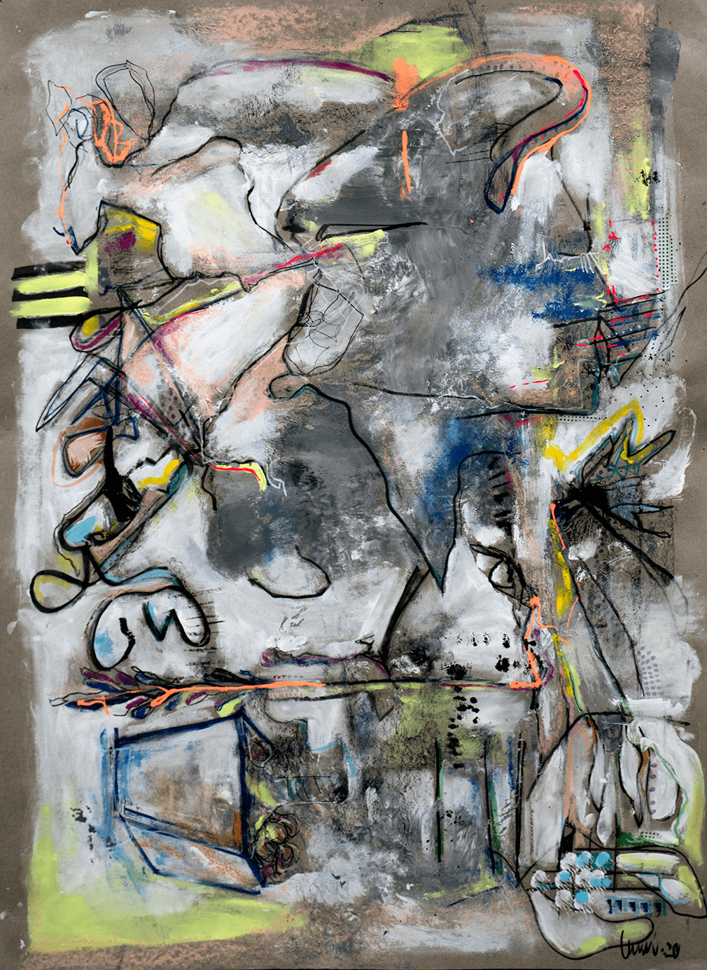 Lu Villanueva, Terrazza, 2020, Acrylic, charcoal, spray paint, oil stick on paper, 95 x 71 cm, © The Artist