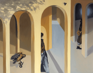 Sara Christova, Simulacrum, 2021, Oil on canvas board, 40 x 50 cm, 15.7 x 19.6 in, © The Artist