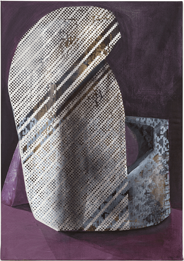 Christian Murzek, ROOK, from the series: HASHLIFE_ODDITY, 2021, painting combined with silkscreen on canvas, 100 x 70 cm, £2,300, © The Artist, Photo by kunstdokumentation.com