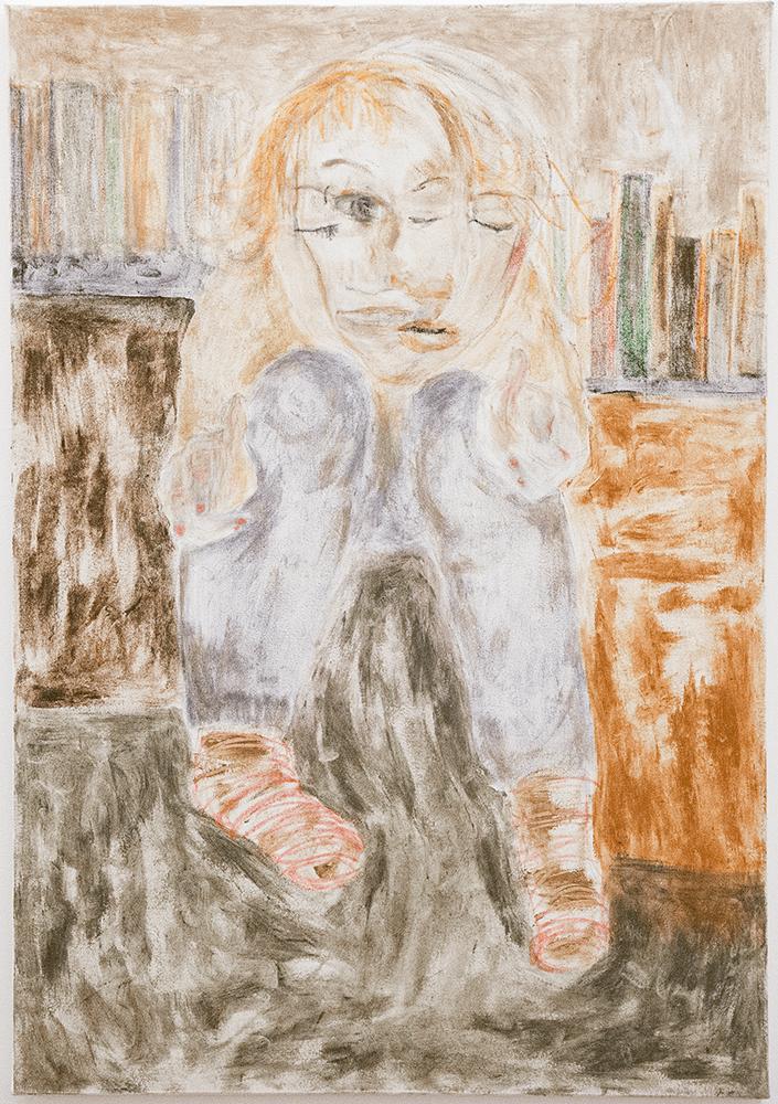 Vilma Määttänen, I'm gunning you, 2018, Oil Pastel, pen and selfmade pigments from stones on linen, 102.5 x 148 cm, £1,000, © The Artist