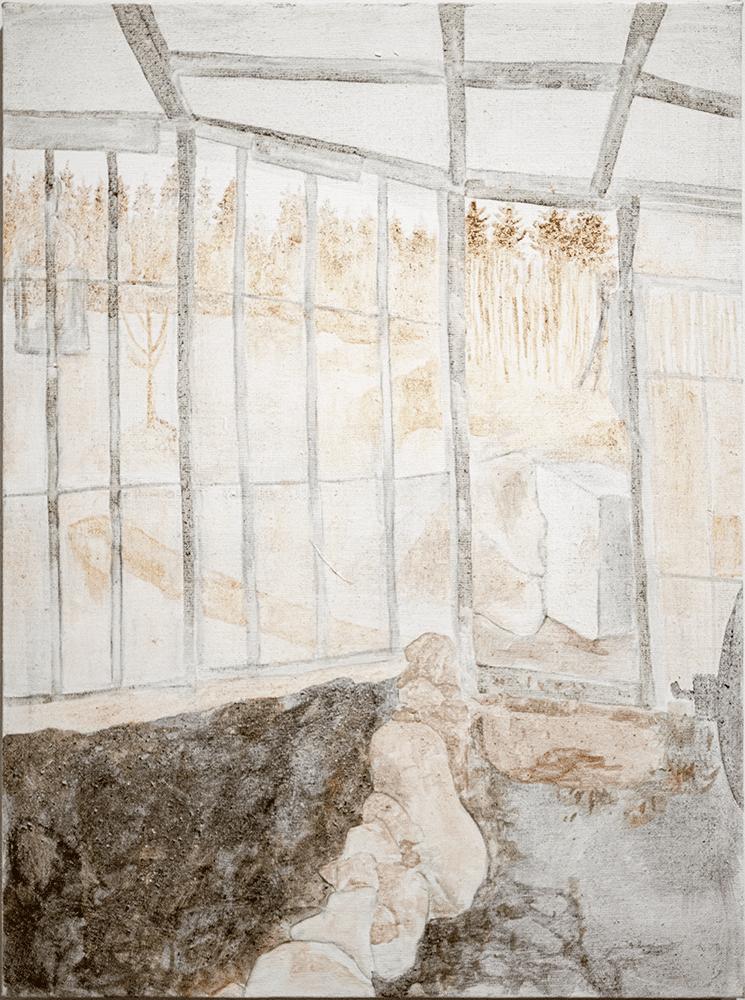 Vilma Määttänen, Spring I, 2019, Tempera, selfmade pigments from soot, stone and plants on linen, 80.5 x 60.5 cm, £600, © The Artist