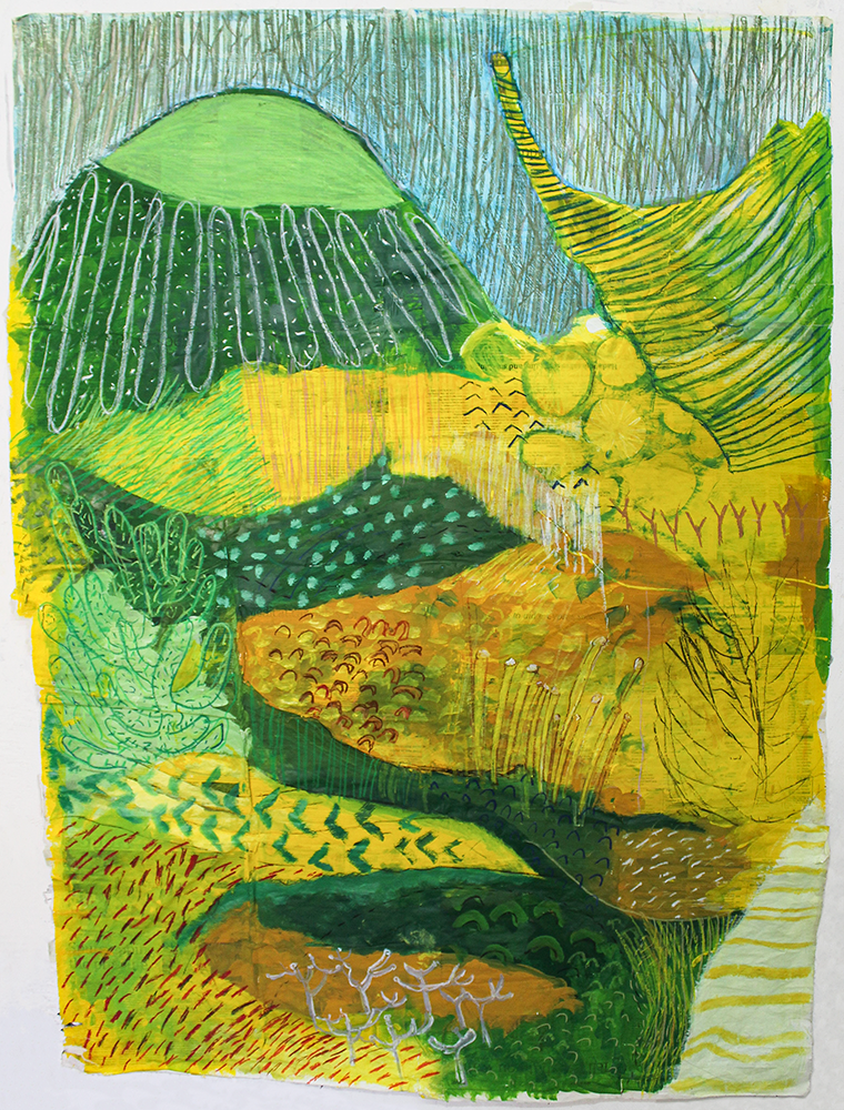 Kelly Norman, The rights of spring 3, 2021, Oil, oil pastel and emulsion on newsprint, 142 x 110 cm, £500, © The Artist