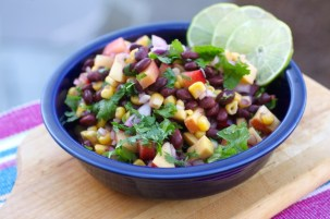 Corn, Black Bean and Stone Fruit Salad With Cilantro. Midsummer's fresh plums and peaches give this simple salad a sweet juicy goodness. Mix the fruit with fresh corn and black beans dressed with lemon, cayenne pepper and black salt. Credit: Copyright 2016 Rinku Bhattacharya