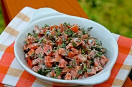 Purslane and Carrot Salad. Purslane and carrot come together with tahini, olive oil and garlic chives to create a salad that is a healthier and colorful alternative to potato salad. Credit: Copyright 2016 Rinku Bhattacharya