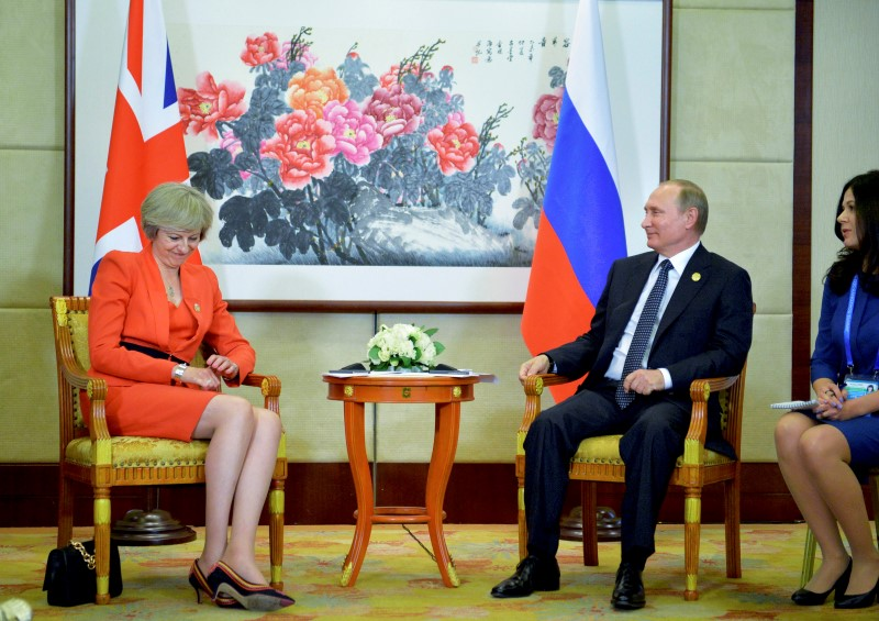 Russian President Vladimir Putin meets with British Prime Minister Theresa May as part of the G20 Summit in Hangzhou, China, September 4, 2016. Sputnik/Kremlin/Alexei Druzhinin/via REUTERS