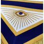 MASTER MASON Gold Embroidered Apron square compass with G Blue 02