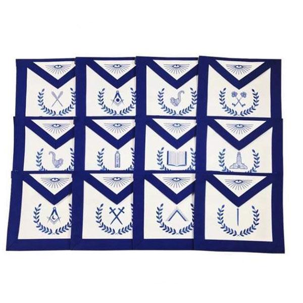 Masonic-Blue-Lodge-Officers-Machine-Embroidered-Apron-Set-of-12
