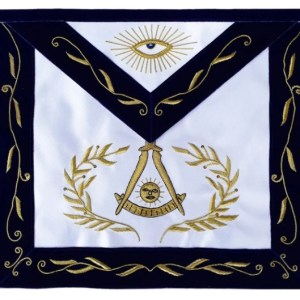 Masonic Blue Lodge Past Master Apron Bullion Hand Embroidered