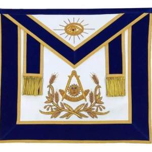 Masonic Past Master Hand Embroidered Apron Gold Embroidery Blue Velvet