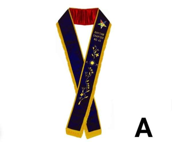 Associate Matron - Hand Embroidered OES Purple Velvet Sashes A